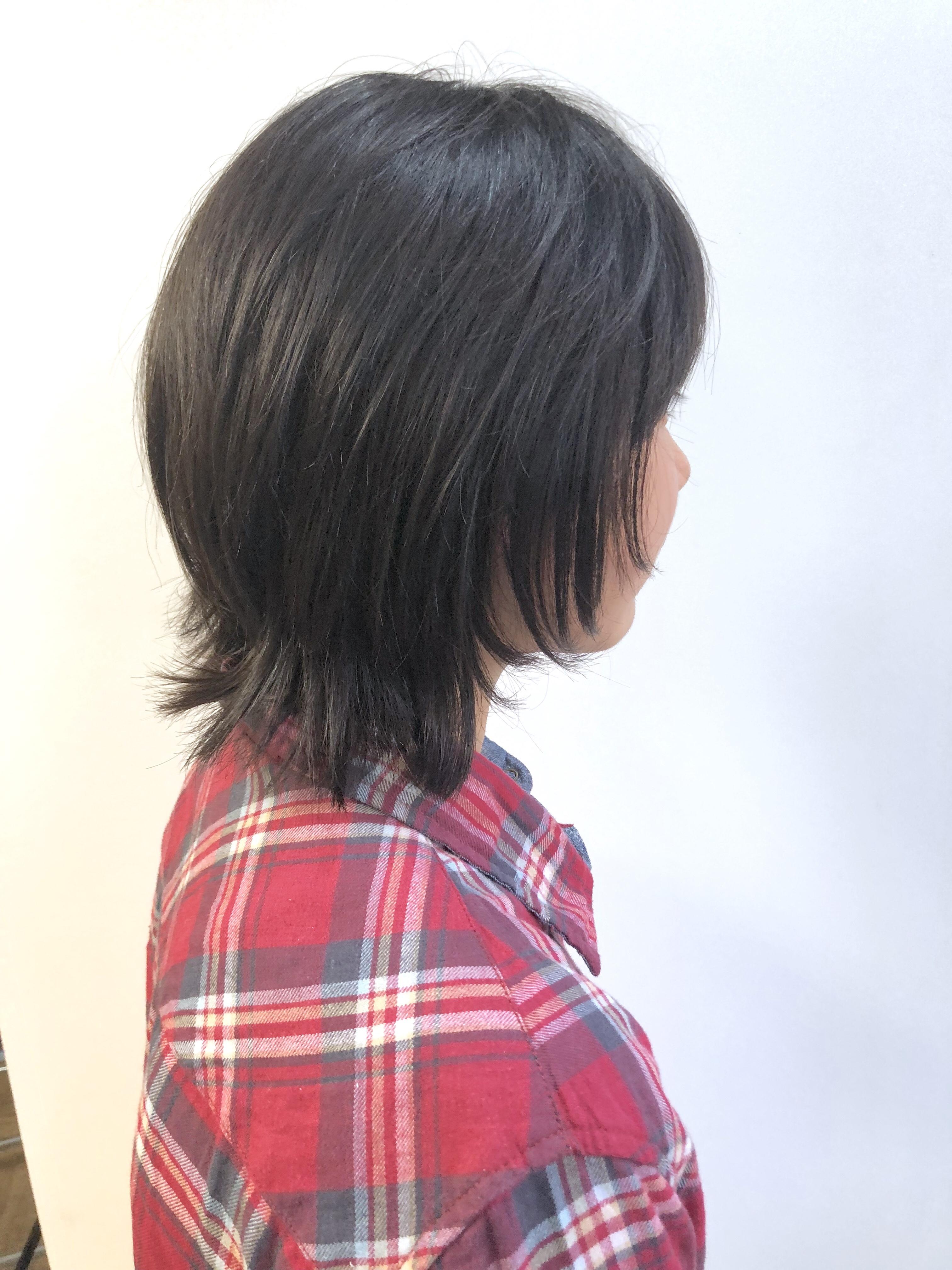 前髪 なし カット ウルフ